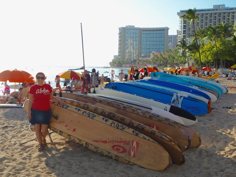 Many surf board on Waikiki beach.