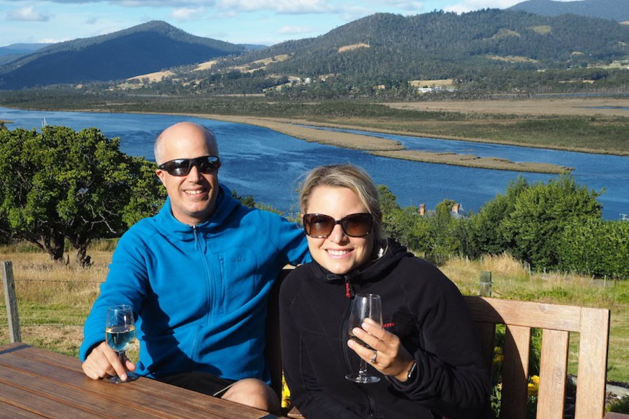 Us relaxing in Tasmania