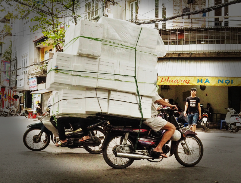 Boxes on motorbikes