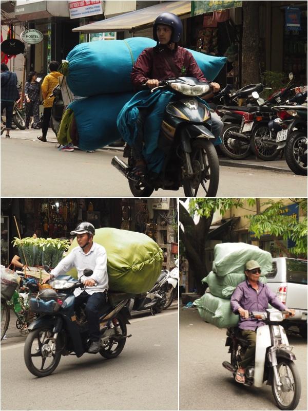 Sacks on motorbike