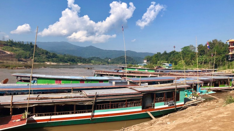 Slow boats on the Mekong river