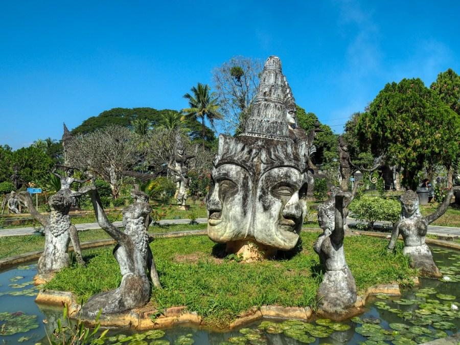 Status in pond in Buddha Park, Vientiane