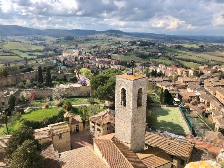 Looking out over San Gimignano from the top of one of its towers