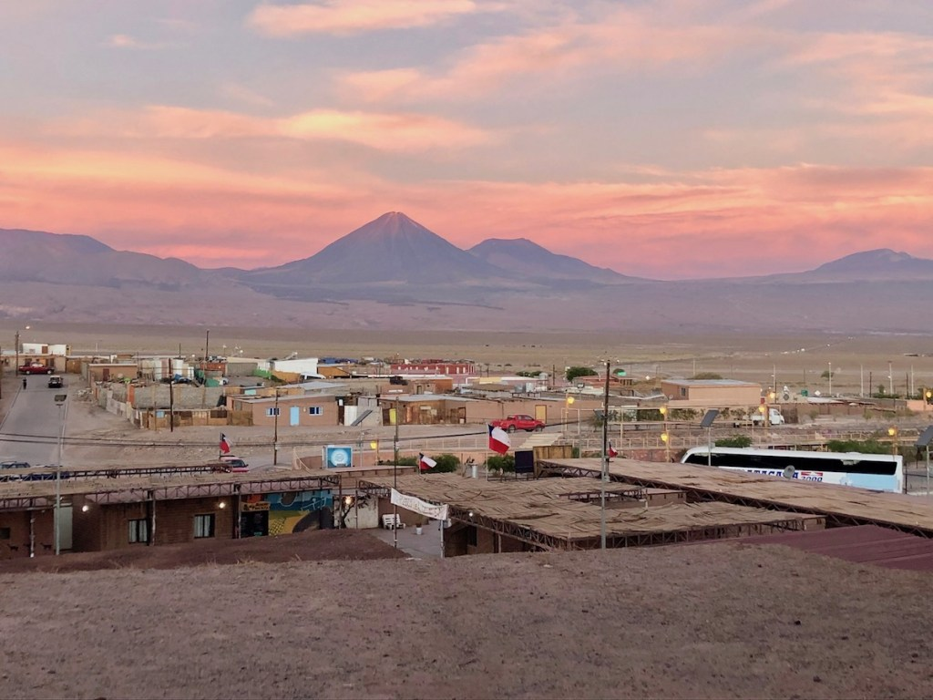 The small town of San Pedro de Atacama at sunset