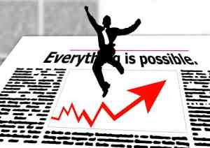 man jumping, newspaper, everything is possible, improve finance