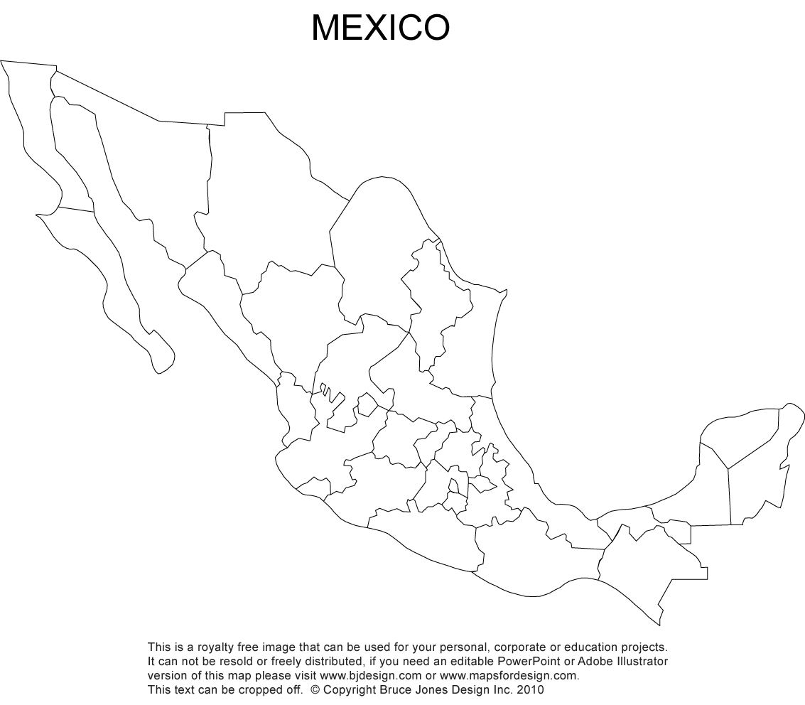 Mexico Map Royalty Free Clipart