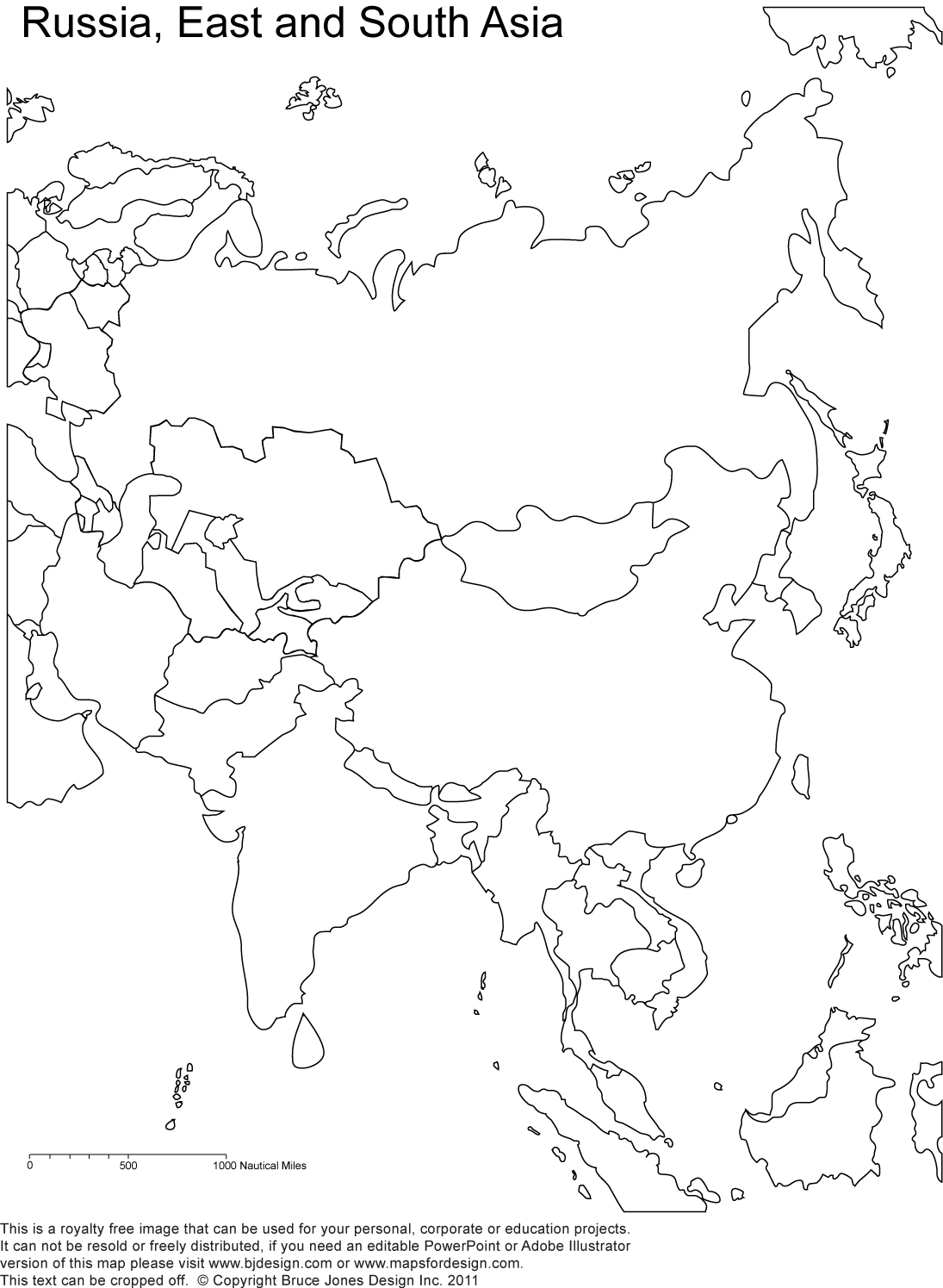 Blank Map Of Asia No Borders