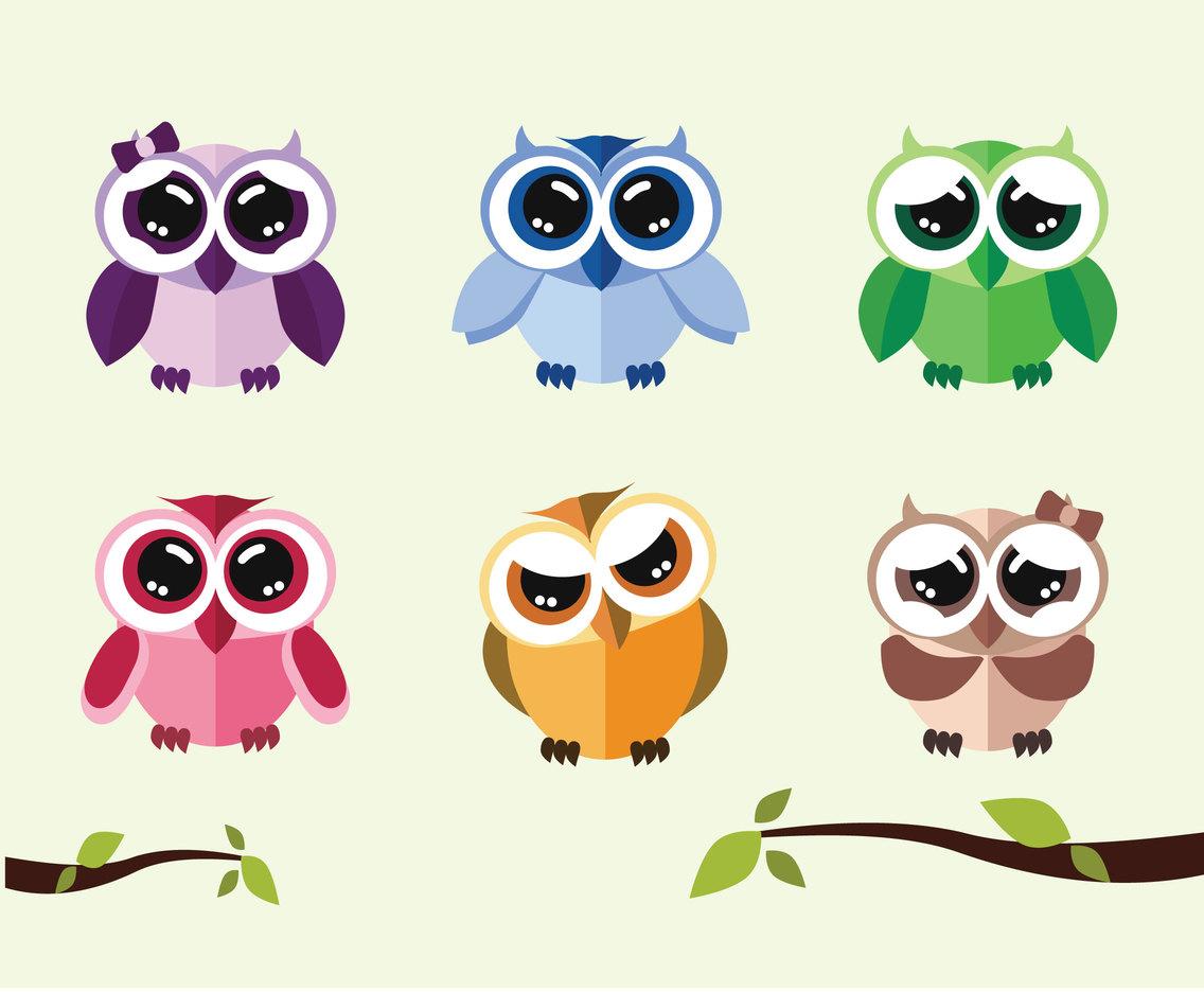 Image of: Owl Cafe Cute Cartoon Owls Vector Design Bundles Cute Cartoon Owls Vector Vector Art Graphics Freevectorcom