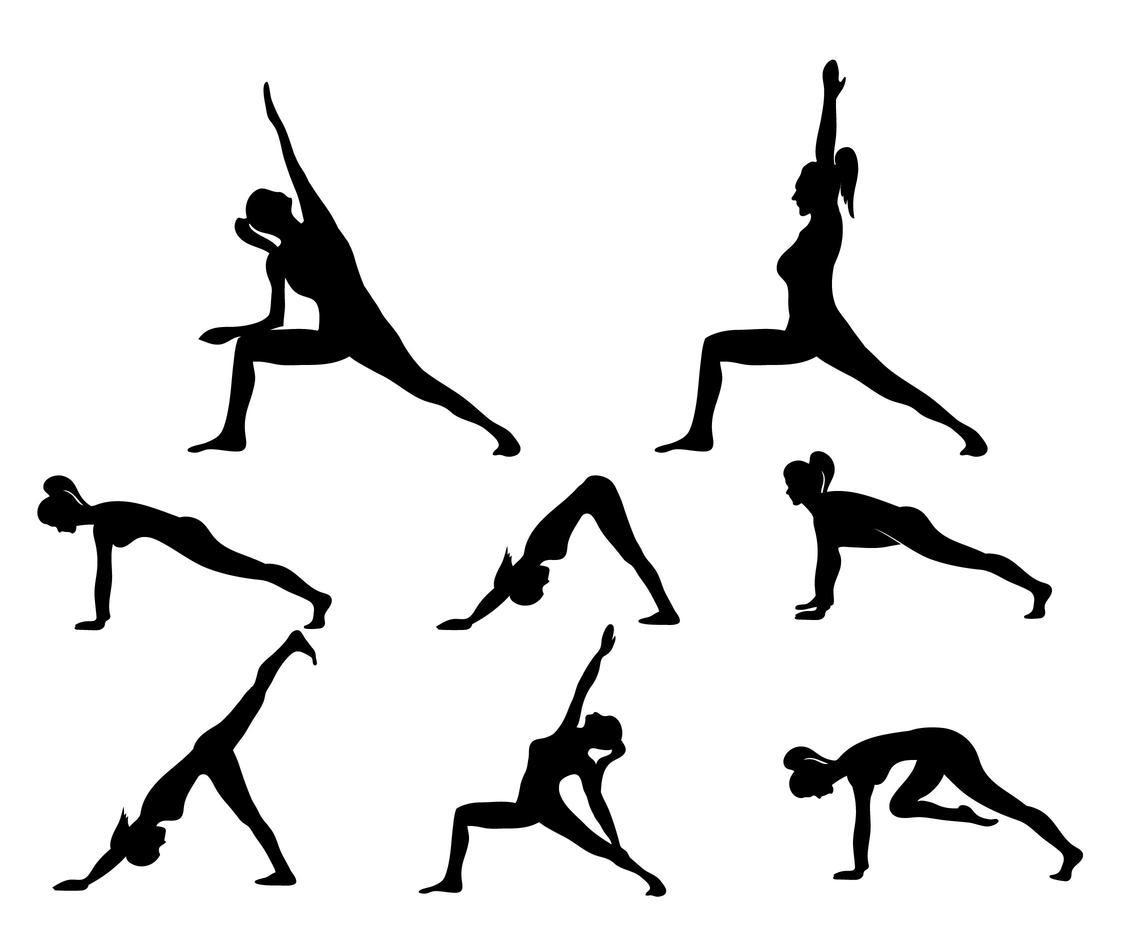 Yoga Woman Silhouette Set Vector Art Amp Graphics