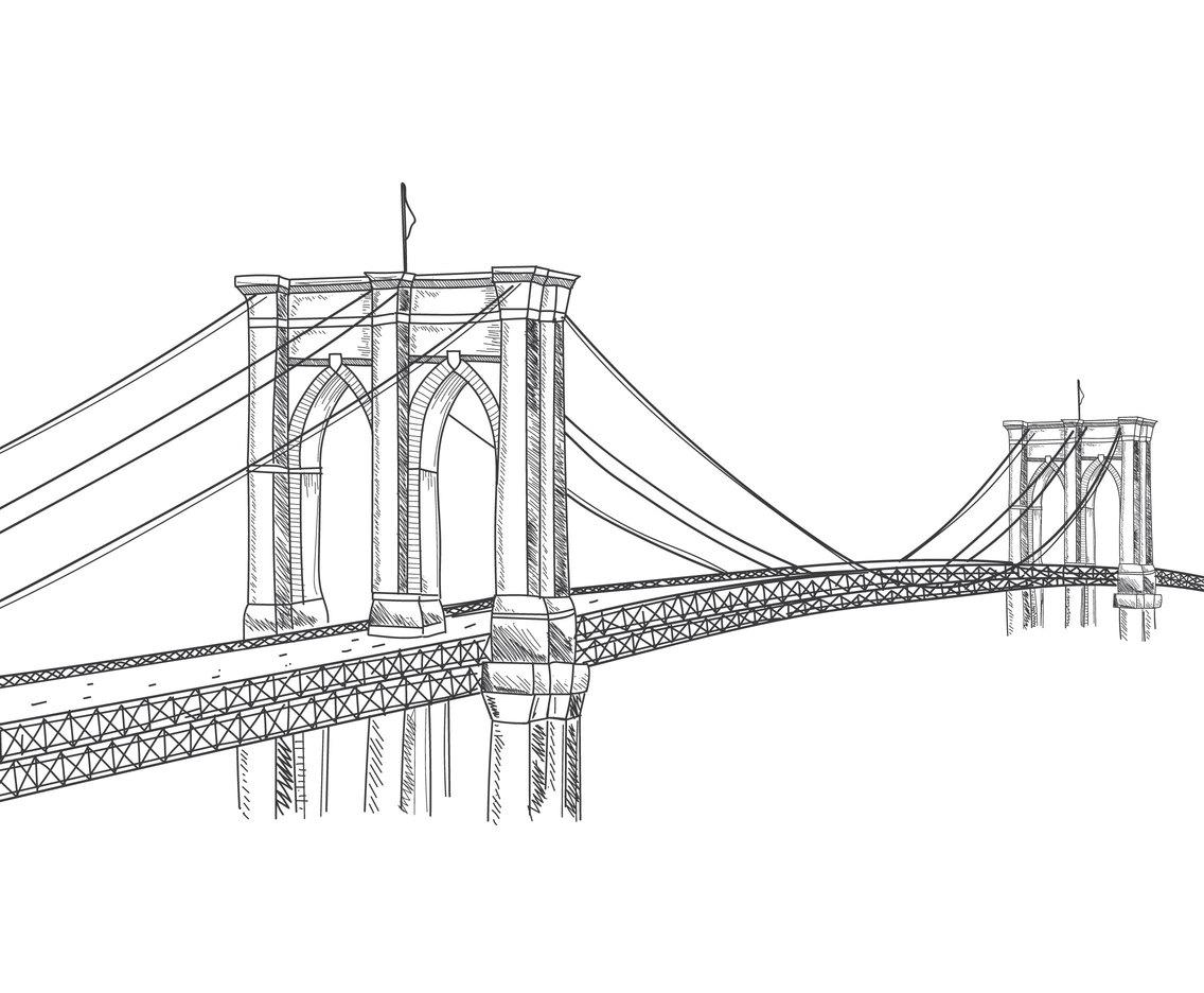 Hand Drawn Brooklyn Bridge Vector Art Amp Graphics