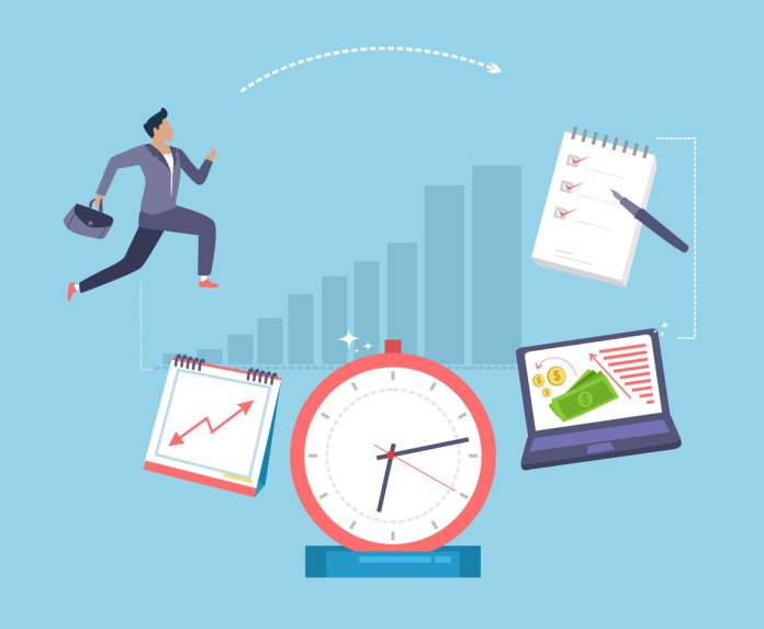 Time And Productivity Vector Vector Art & Graphics | freevector.com