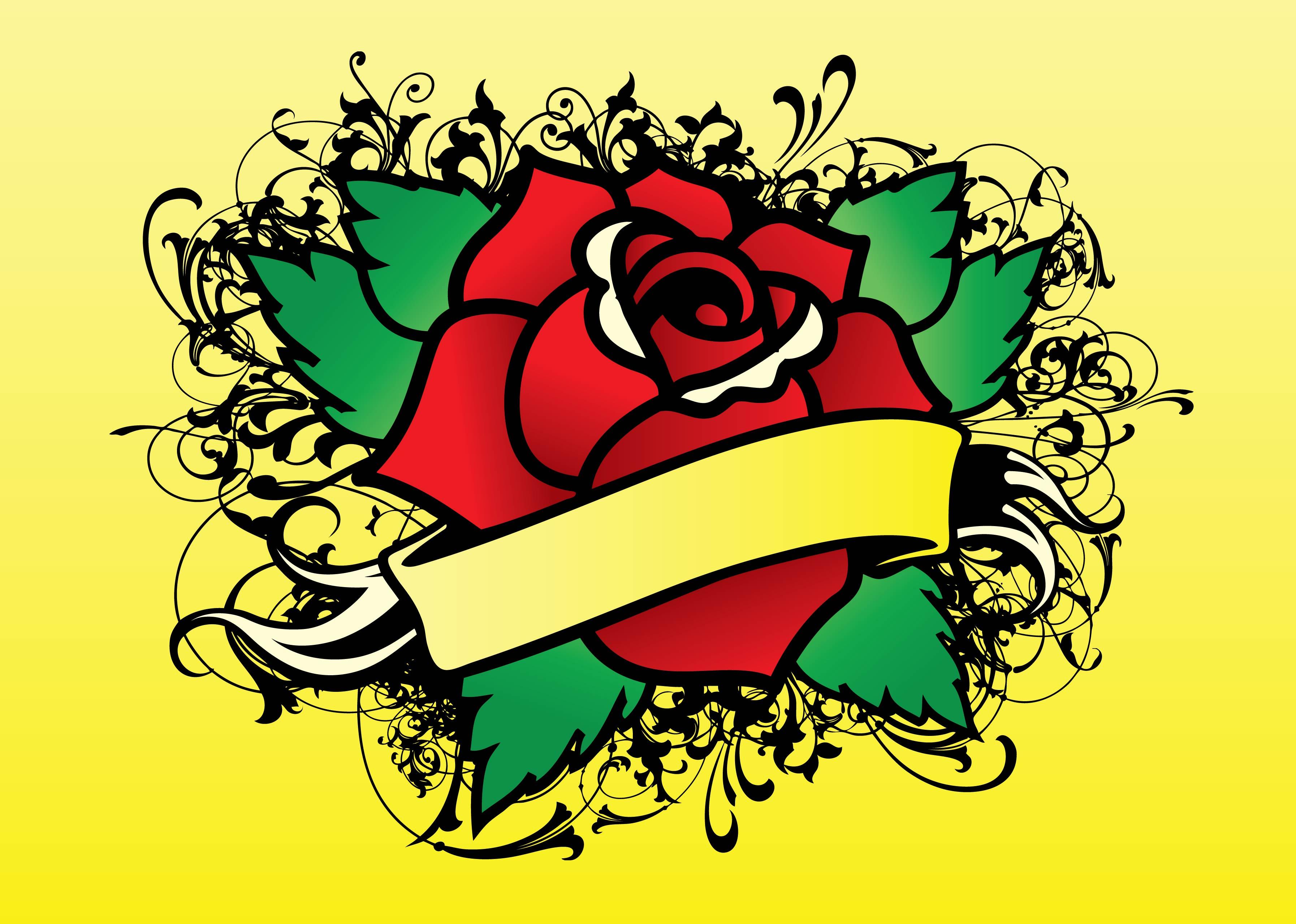 Rose Tattoo Vector Vector Art Amp Graphics