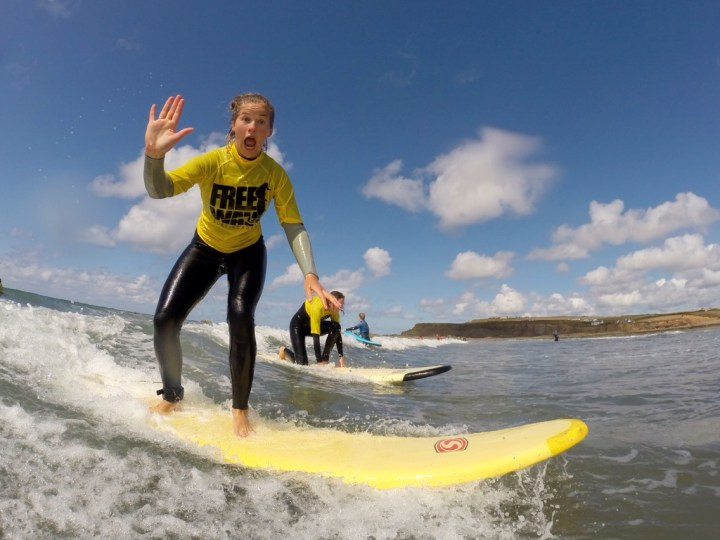 Lady Surfing at Freewave