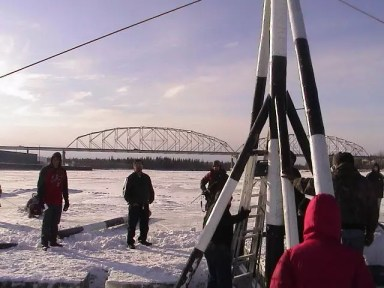 Raising the Nenana Ice Classic Tripod 2010