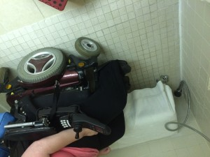How a roll-in shower works - see how I can park right next to the seat and easily transfer.