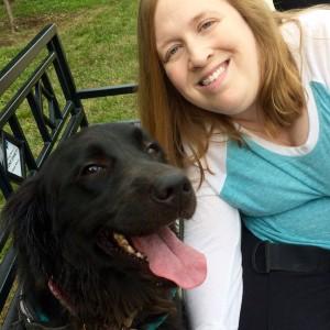 Me with my service dog, Aria, a golden retriever mix.