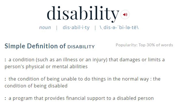 Elegant Merriam Webster Definition Of Disability. Simple Definition Of Disability :  A Condition (such