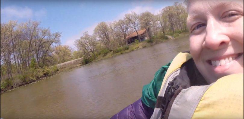Karin paddling a canoe on Lake George. May 5, 2016.