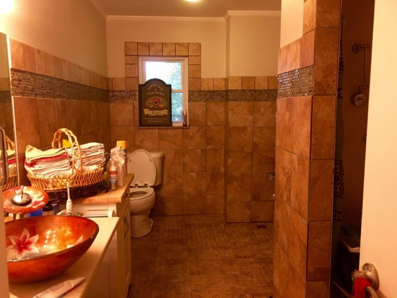 View into a bathroom remodeled to be wheelchair accessible.