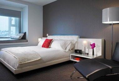 W Hotel room in Hollywood.