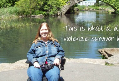 "Karin in Central Park, NYC with caption ""This is what a domestic violence survivor looks like."""