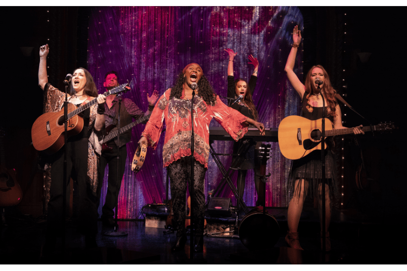 "Tamra Hayden and the rest of the ""Guitar Girls"" cast at Florida Studio Theatre."