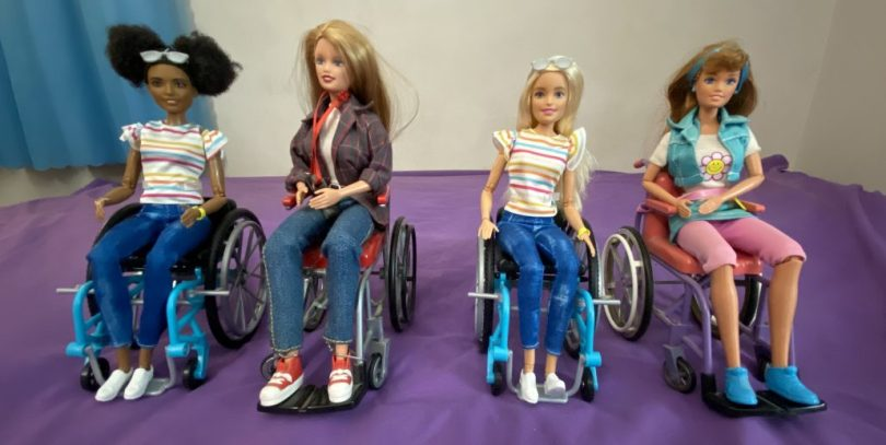Barbie dolls in wheelchairs from the 1990s and 2019.