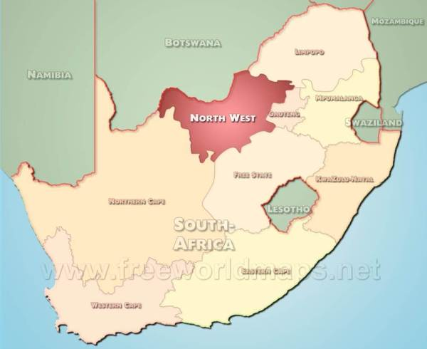 Northwest map - South Africa