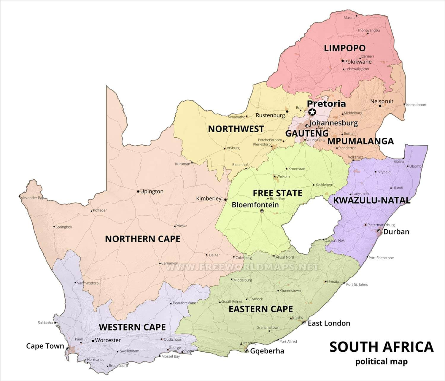 Detailed Map Of South Africa