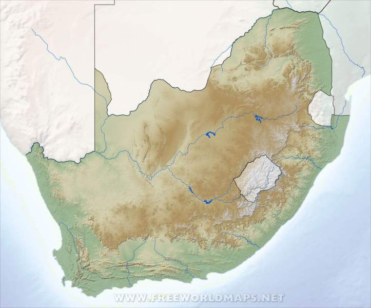 South Africa Physical Map South Africa relief