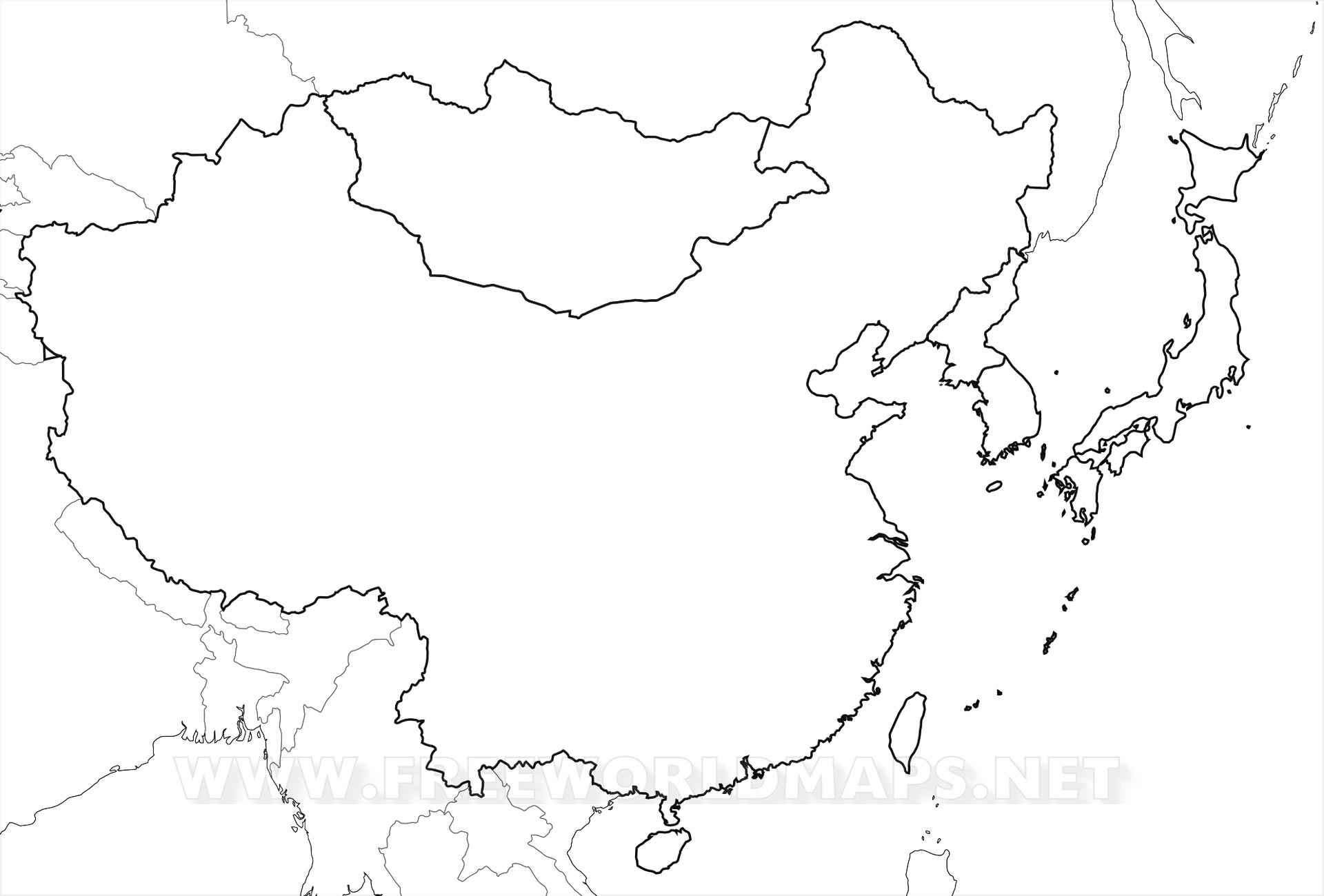Map Of East Asia Black And White
