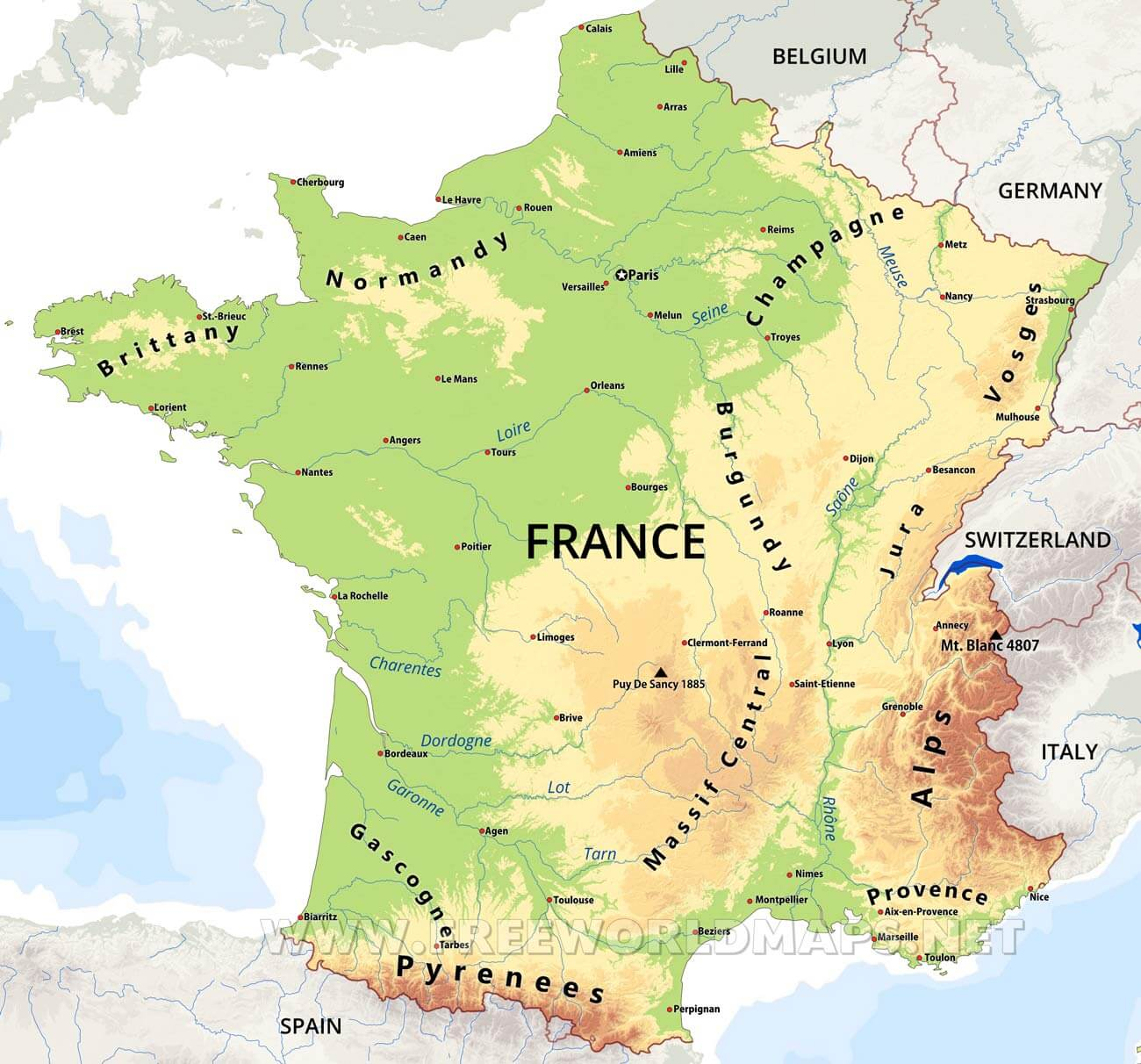 France Map Physical