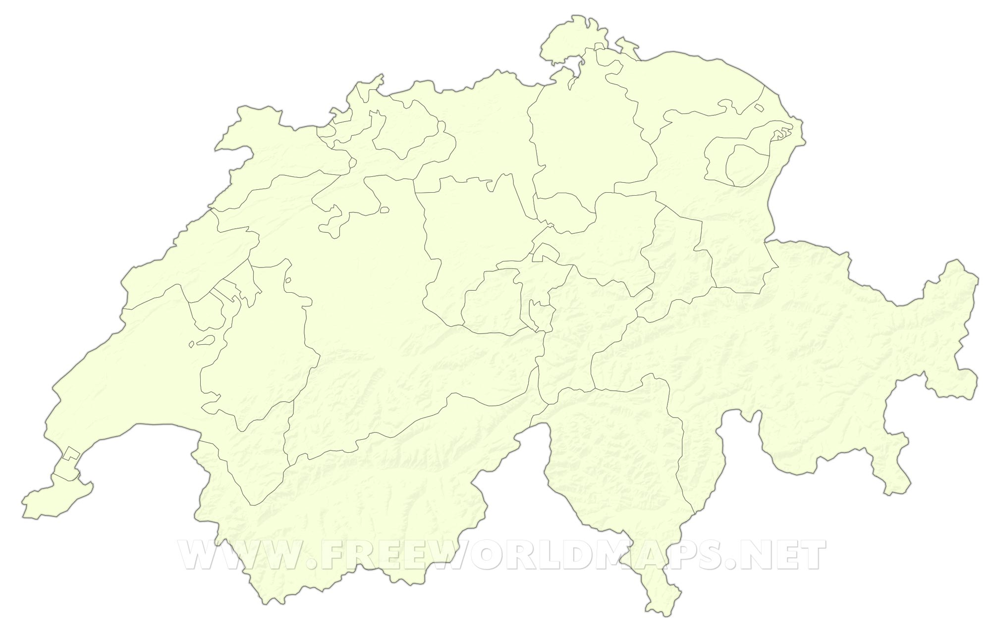 Switzerland Political Map     Switzerland blank map HD