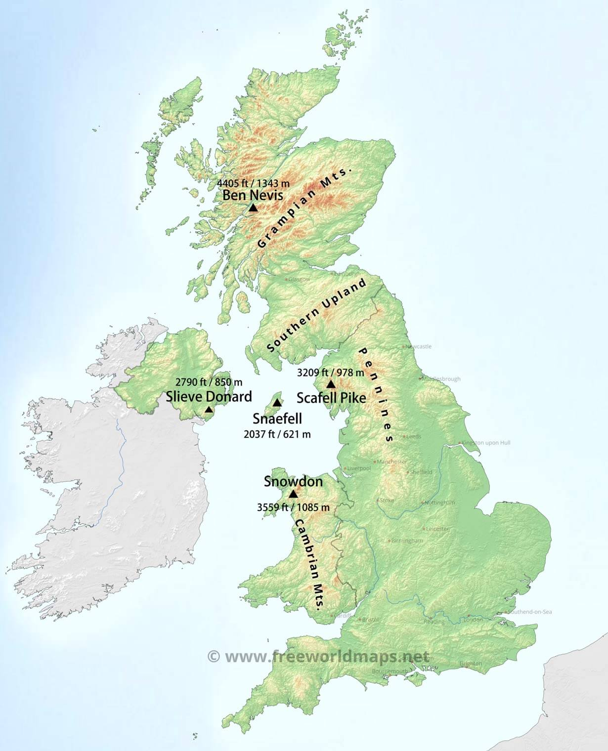 United Kingdom Physical Map