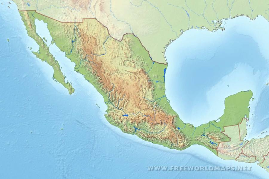 Mexico Physical Map Mexico HD map