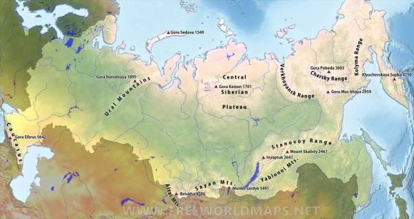 Russia Mountain Ranges by FreeWorldMapsnet