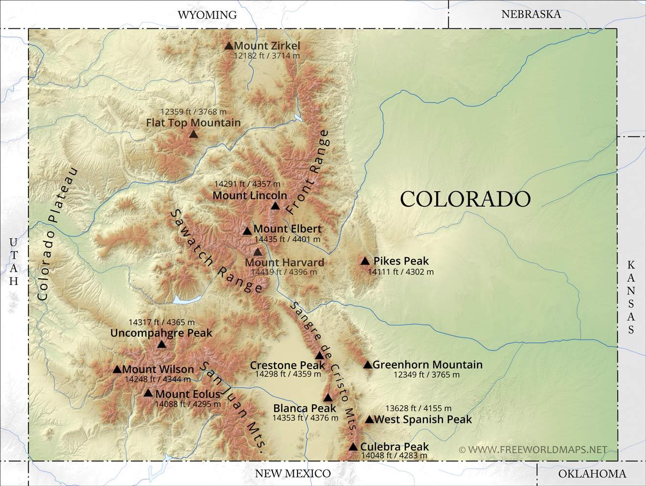 Rocky Mountains Colorado Map