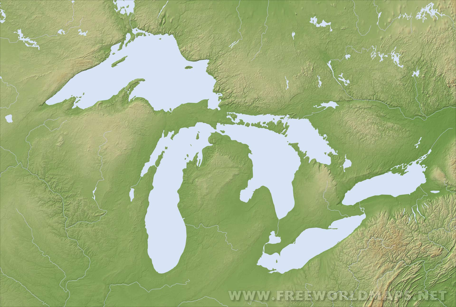 Map Of Us With Great Lakes