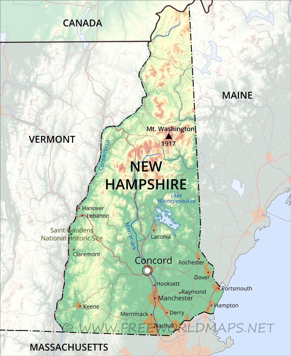 New Maine Hampshire Map Mountains White And
