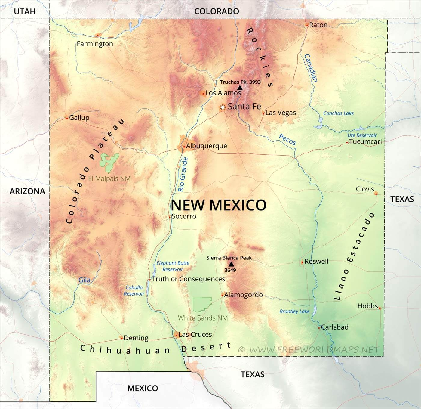 Physical Map Of New Mexico