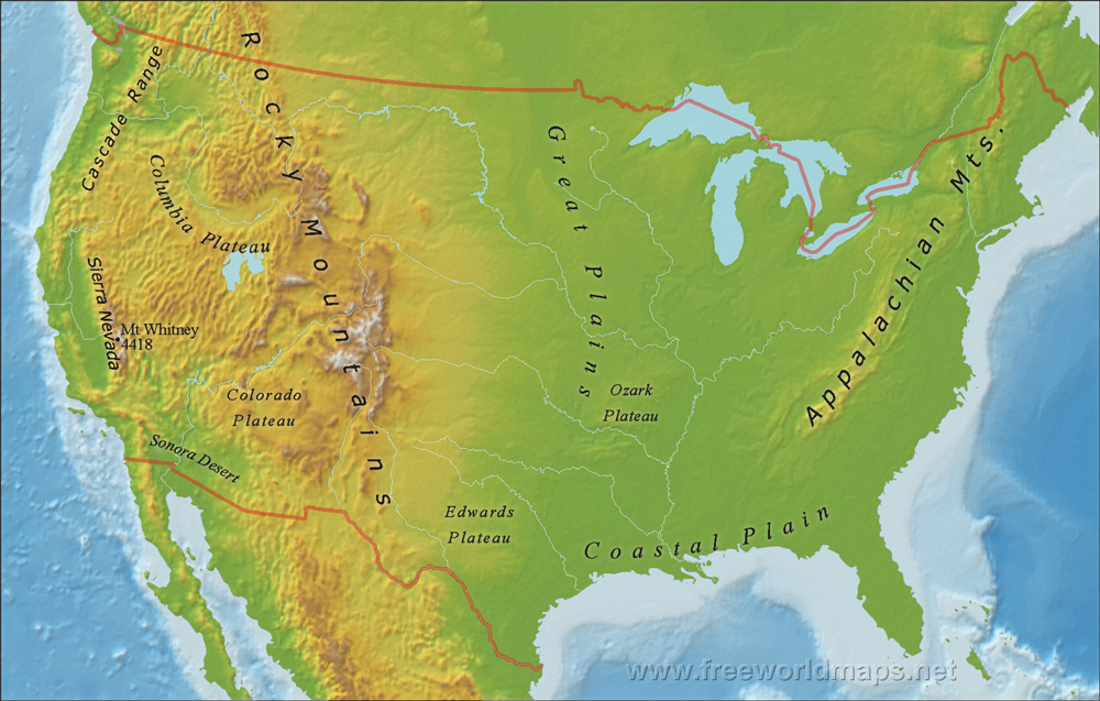 Rocky Mountains Mountains Us Blank Map Appalachian And