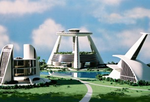 An amazing example of futuristic city design including urban green spaces and roof top landing pad (The Venus Project)