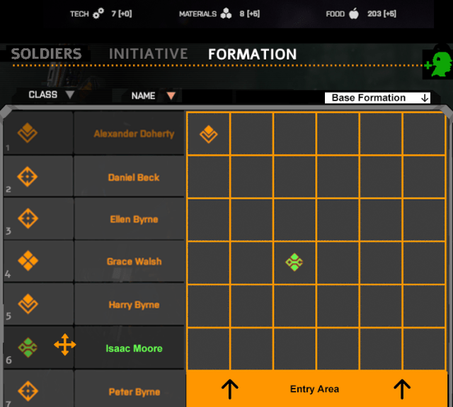 Formation tab with Technician Isaac Moore highlighted (Phoenix Point)
