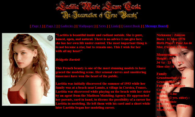 My First Website - Laetitia Marie Laure Casta - An Incarnation of True Beauty