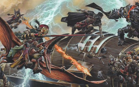Eberron - Huge battle scene on a lightning rail with a Talenta halfling riding a pterasaur, a 2-weapon wielding Warforged soldier, and a goblin artificer being assaulted by at least 4 darkly clad assailants.