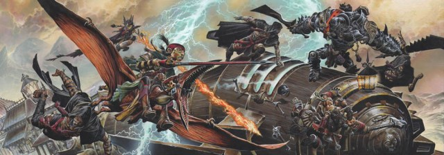 Huge battle scene on a lightning rail with a Talenta halfling riding a pterasaur, a 2-weapon wielding Warforged soldier, and a goblin artificer being assaulted by at least 4 darkly clad assailants.