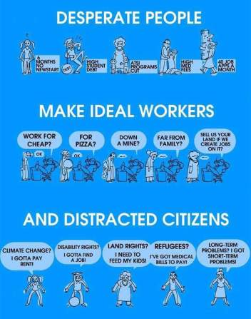 Desperate people make ideal workers and distracted citizens