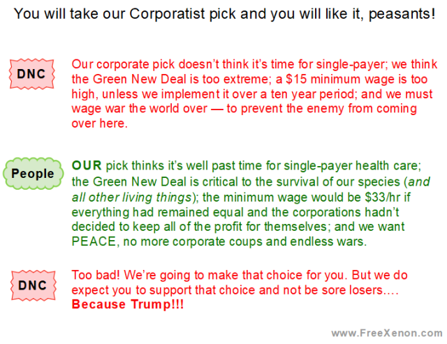 You will take our Corporatist pick and you will like it, peasants! DNC: Our corporate pick doesn't think it's time for single-payer; we think the Green New Deal is too extreme; a $15 minimum wage is too high, unless we implement it over a ten year period; and we must wage war the world over — to prevent the enemy from coming over here. People: OUR pick thinks it's well past time for single-payer health care; the Green New Deal is critical to the survival of our species (and all other living things); the minimum wage would be $33/hr if everything had remained equal and the corporations hadn't decided to keep all of the profit for themselves; and we want PEACE, no more corporate coups and endless wars. DNC: Too bad! We're going to make that choice for you. But we do expect you to support that choice and not be sore losers…. Because Trump!!! www.FreeXenon.com
