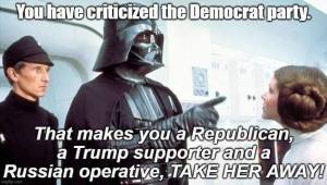 You have criticized the Democratic Party. That makes your a Republican, a Trump supporter, and a Russian operative. Take her away!