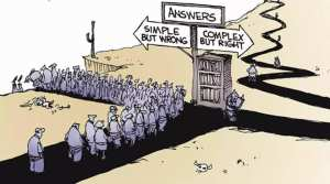 Answers. Simple but wrong. Complex but right